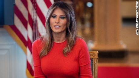 US First Lady Melania Trump speaks during a discussion with local middle school students about their lives in the Blue Room of the White House in Washington, DC, April 9, 2018. / AFP PHOTO / SAUL LOEB        (Photo credit should read SAUL LOEB/AFP/Getty Images)