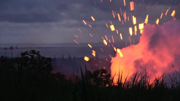 ***drop banner when using***  Description:  Fissure 18 erupts from Kilauea near the town of Pahoa, Hawaii. Large chunks of rocks and magma fly with big explosions. Fissure 17 just opened yesterday afternoon and started a full eruption around 5am after multiple earthquakes overnight.  Credit:  Brandon Clement / LSM  Locations:  Pahoa, HI, USA    title: File uploaded by user duration: 00:00:00 site:  author:  published:  intervention: yes description: