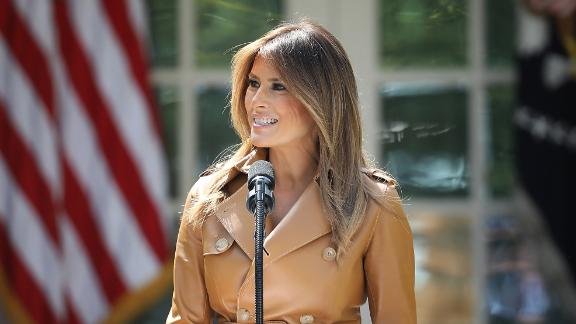 WASHINGTON, DC - MAY 07:  U.S. first lady Melania Trump speaks in the Rose Garden of the White House May 7, 2018 in Washington, DC. Trump outlined her new initiatives, known as the Be Best program, during the event.  (Photo by Win McNamee/Getty Images)