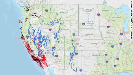 A map of fault lines in the western United States