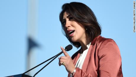 "Idaho State Rep. Paulette Jordan speaks during the Women's March ""Power to the Polls"" voter registration tour launch at Sam Boyd Stadium on January 21, 2018 in Las Vegas, Nevada."