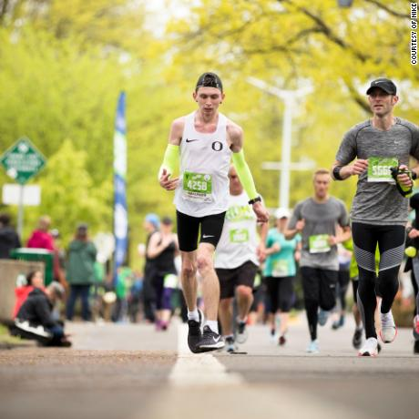 Justin Gallegos running in the 2018 Eugene Half Marathon