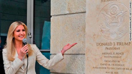 Ivanka Trump unveils a plaque at the newly-unveiled US Embassy in Jerusalem.