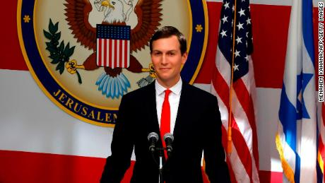 Senior White House Advisor Jared Kushner delivers a speech during the opening of the US embassy in Jerusalem on May 14, 2018.