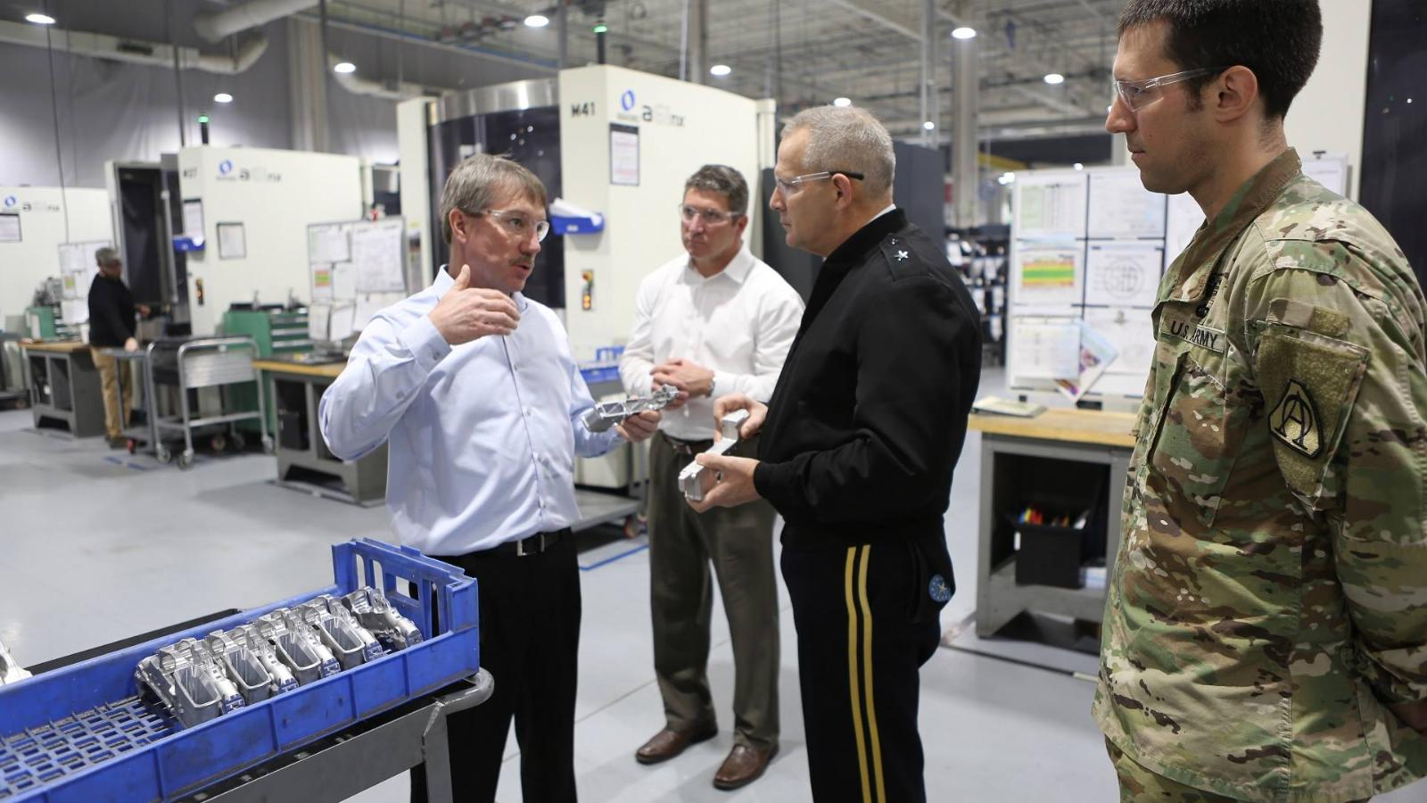 Brigadier General Tony Potts, who has overseen the US Army's transition to its new XM17 pistol, toured Sig Sauer's facility in Newington, New Hampshire, in February.