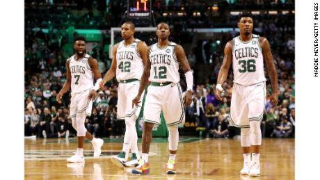 The Celtics' Jaylen Brown, Al Horford, Terry Rozier and Marcus Smart.