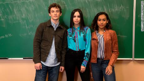 "Freeform's ""Pretty Little Liars: The Perfectionists"" stars Eli Brown as Dylan, Sofia Carson as Ava, and Sydney Park as Caitlyn."