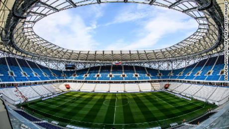 A view of the pitch and the stands of Volgograd Arena in Volgograd on May 9, 2018. - The nearly 45,000-seater stadium will host four World Cup matches. (Photo by Mladen ANTONOV / AFP)        (Photo credit should read MLADEN ANTONOV/AFP/Getty Images)