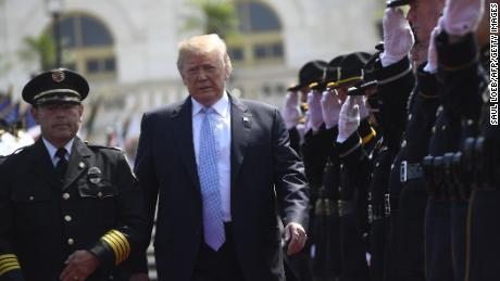 President Donald Trump arrives to address the 37th Annual National Peace Officers Memorial Service at the US Capitol in Washington.
