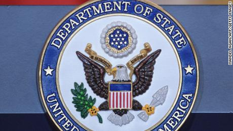 A  May 11, 2018 photo shows the seal of the US State Department at the State Department in Washington, DC. (MANDEL NGAN/AFP/Getty Images)