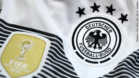 A picture taken on April 25, 2018 in Paris, shows the jersey of the German national football team for the FIFA 2018 World Cup football tournament. (Photo by FRANCK FIFE / AFP)        (Photo credit should read FRANCK FIFE/AFP/Getty Images)