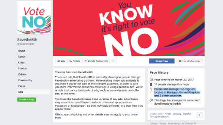 A screenshot taken on May 11 of Savethe8th's Facebook page, an anti-abortion group in Ireland.