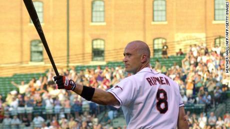 BALTIMORE, UNITED STATES:  The Baltimore Orioles' Cal Ripken, Jr., acknowledges the crowd's standing ovation before his first at bat during the game against the Toronto Blue Jays 19 June, 2001, at Camden Yards in Baltimore, Maryland. Ripken announced he will retire at the end of the 2001 season.  AFP PHOTO/HEATHER HALL (Photo credit should read HEATHER HALL/AFP/Getty Images)