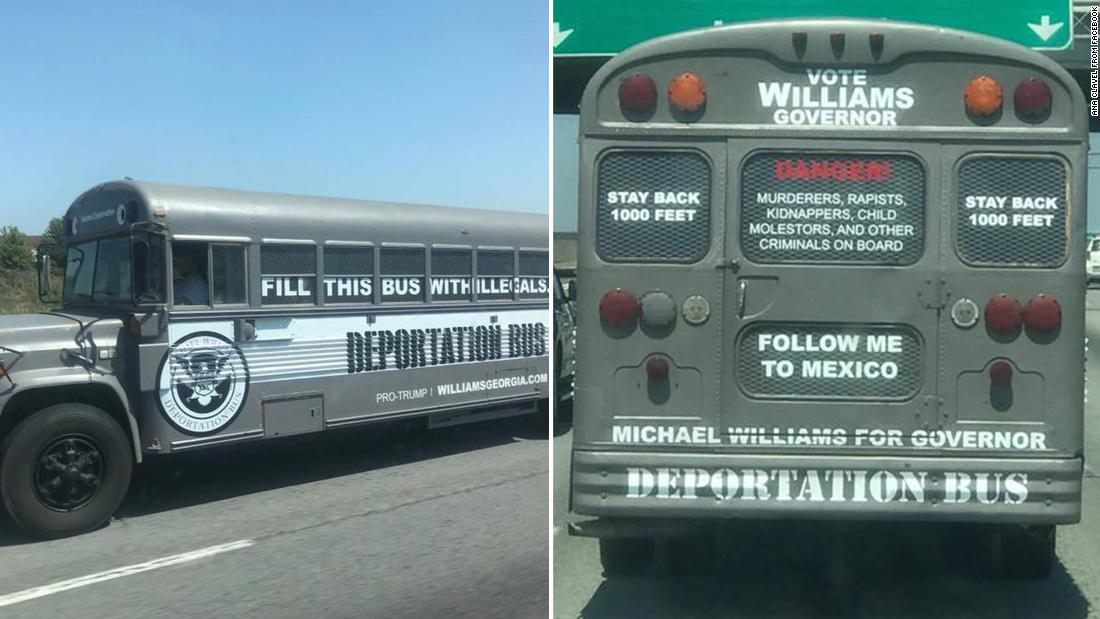 He's campaigning for governor of Georgia on a 'deportation bus'
