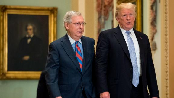 President Donald Trump (R) walks with Senate Majority Leader Mitch McConnell (R-KY) as he attends the Republican luncheon at the U.S. Capitol Building on May 15, 2018 in Washington, D.C,