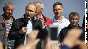 Russian President Vladimir Putin makes a speech during the opening ceremony of the new bridge connecting Crimea with Russia.