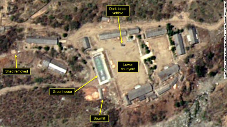 Satellite images from DigitalGlobe and 38 North on May 7 show support buildings at the Main Administrative Area have been taken down at North Korea's Punggye-ri nuclear test site.
