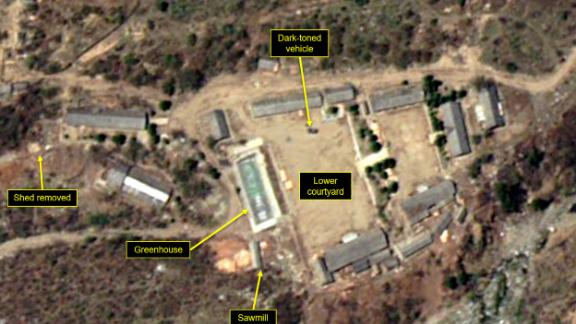 PUNGGYE-RI NUCLEAR TEST SITE, NORTH KOREA - MAY 7, 2018.  Figure 5B. Support buildings at the Main Administrative Area have been taken down.  (Photo DigitalGlobe/38 North via Getty Images)