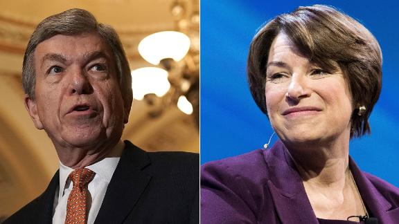 Pictured at left, Sen. Roy Blunt, a Missouri Republican, and, at right, Sen. Amy Klobuchar, a Minnesota Democrat. The two are negotiating legislation for how the Senate addresses sexual harassment.