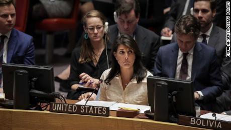 NEW YORK, NY - MAY 15: U.S. Ambassador to the United Nations Nikki Haley speaks a UN Security Council meeting concerning the violence at the border of Israel and the Gaza Strip, at United Nations headquarters, May 15, 2018 in New York City. 58 people were killed on Monday as Israeli forces opened fire on Palestinian protestors near the border.  (Photo by Drew Angerer/Getty Images)