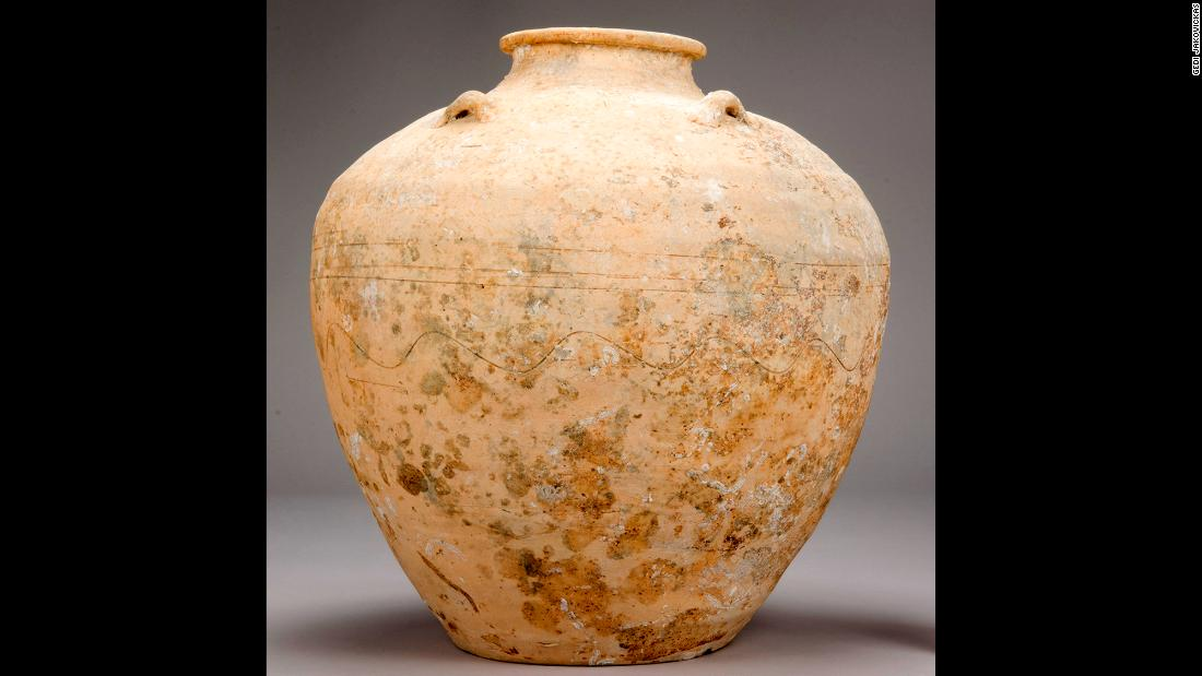 These Chinese storage jars would have held spices, dried tea leaves, fish sauce, pickled vegetables and other perishable goods. Some of the jars have cyclical date stamps on them.