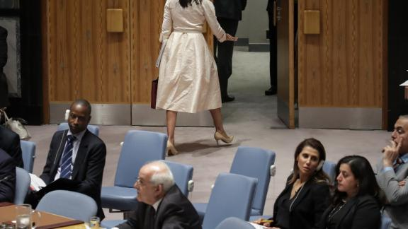 Ambassador Nikki Haley walks out of a UN Security Council meeting as Permanent Observer of Palestine to the United Nations Riyad Mansour begins to speak.