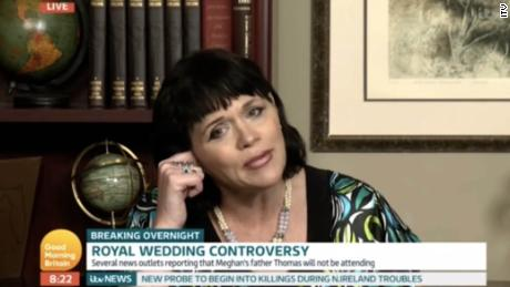 "1. Samantha Markle interview with Piers Morgan on Good Morning Britain 2. Express.co.uk 3. ITV ""Good Morning Britain"" 4. London 5. SOT Samantha: I think he (dad) had a right to defend himself. They have an obligation, an ethical obligation, to allow me to be portrayed as I am. Living a healthy lifestyle. Not caught in an unflattering positions as media vultures have done. Piers: There's no bigger media vulture with is wedding than you, is there Ms. Markle. You've got the galls to come on here and talk about media vultures. You've got a book called 'The diary of Princess Pushy Sister'. You've been trashing her for 2 years you little vulture."