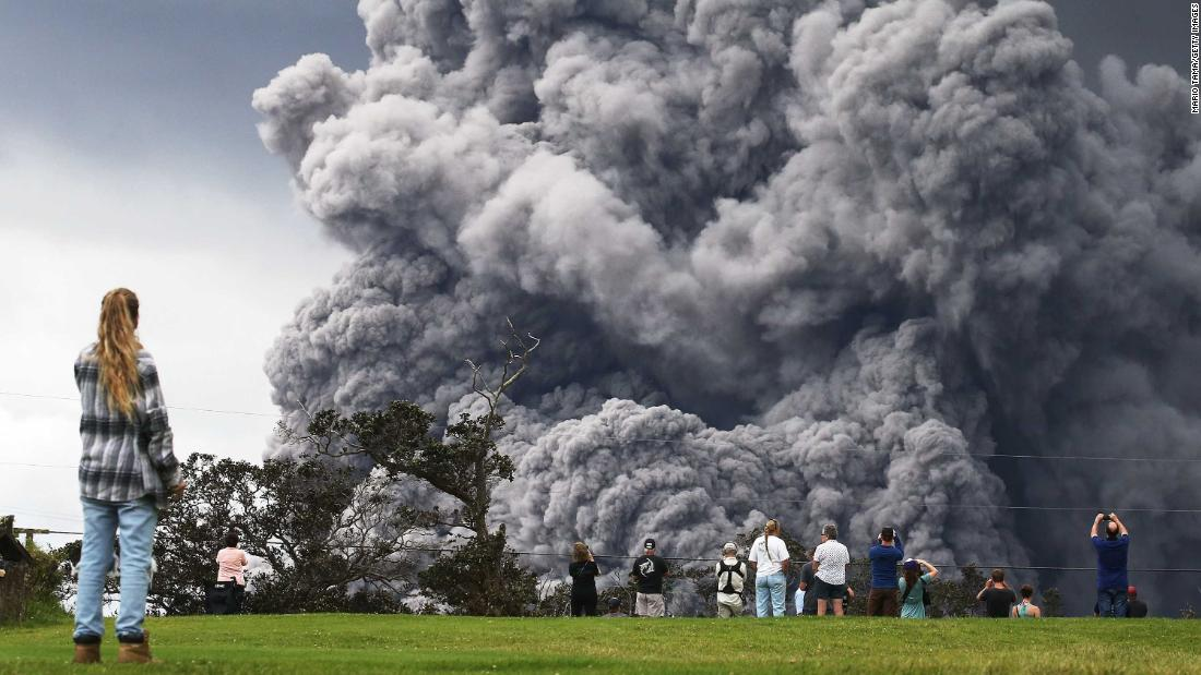 On Tuesday, a plume of ash from the volcano rose 12,000 feet into the air, dropping ash on sections of the island.