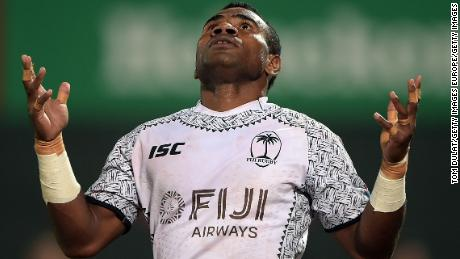 DUBAI, UNITED ARAB EMIRATES - DECEMBER 01:  Jerry Tuwai of Fiji celebrates scoring a try during the match between Fiji and Australia on Day Two of the Emirates Dubai Rugby Sevens - HSBC Sevens World Series at The Sevens Stadium on December 1, 2017 in Dubai, United Arab Emirates.  (Photo by Tom Dulat/Getty Images)