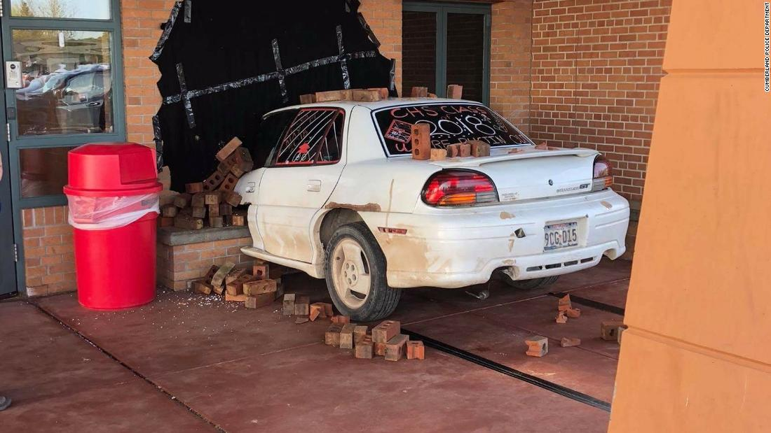 This isn't a car crash. This is one of the best senior pranks cops ever saw