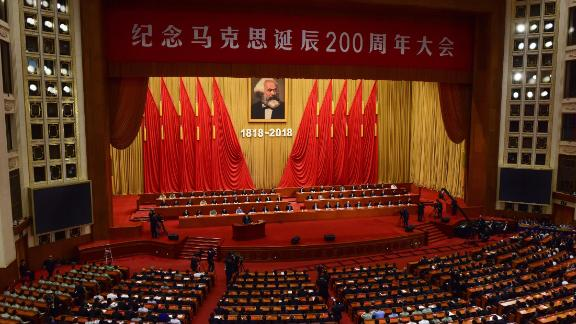 Xi Jinping gives a speech during a ceremony to mark the 200th birth anniversary of German philosopher Karl Marx on May 4.