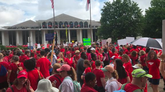 Educators rally outside North Carolina State Legislative Building on Wednesday, May 16, 2018.