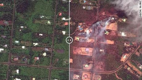 These satellite images show how lava has seared neighborhoods in Hawaii