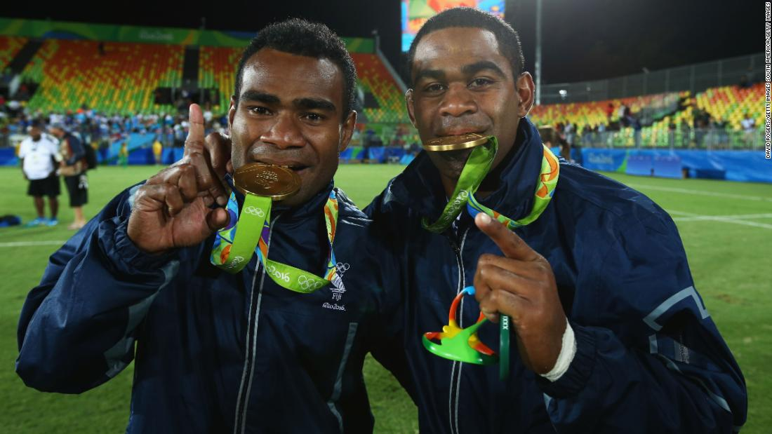 "He celebrates winning Olympic gold -- Fiji's first -- in 2016 with teammate Vatemo Ravouvou. <a href=""https://edition.cnn.com/2016/08/11/sport/fiji-rugby-olympics-sevens-rio-2016/index.html"">Fiji defeated Great Britain 43-7</a> in Rio."
