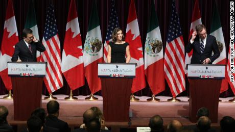 Canadas Minister of Foreign Affairs Chrystia Freeland(C), Mexicos Secretary of Economy Ildefonso Guajardo Villarreal(L) and United States Trade Representative Robert E. Lighthizer make statements during Global Affairs on the final day of the third round of the NAFTA renegotiations in Ottawa, Ontario, September 27, 2017. / AFP PHOTO / Lars Hagberg        (Photo credit should read LARS HAGBERG/AFP/Getty Images)