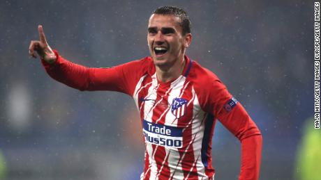 Antoine Griezmann celebrates scoring his second goal of the night.