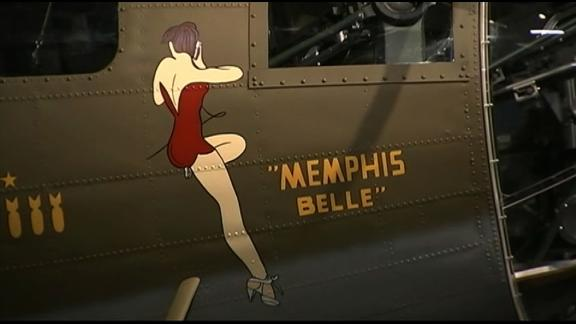 The iconic nose art on the Memphis Belle.