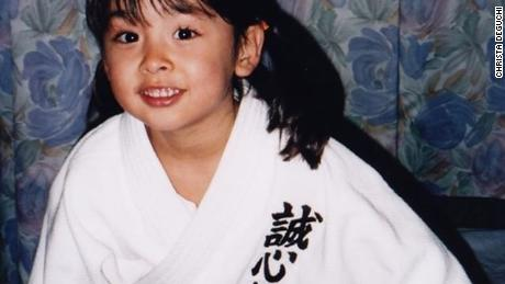 Deguchi getting ready for practise aged four.