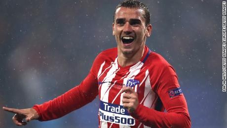 LYON, FRANCE - MAY 16:  Antoine Griezmann of Atletico Madrid celebrates after scoring his team's second goal of the game during the UEFA Europa League Final between Olympique de Marseille and Club Atletico de Madrid at Stade de Lyon on May 16, 2018 in Lyon, France.  (Photo by Maja Hitij/Getty Images)