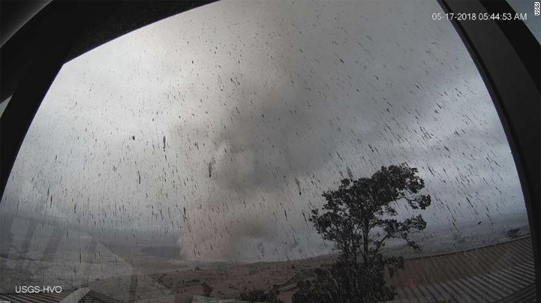 A webcam from an Hawaiian Volcano Observatory tower captures the plume rising into the sky.