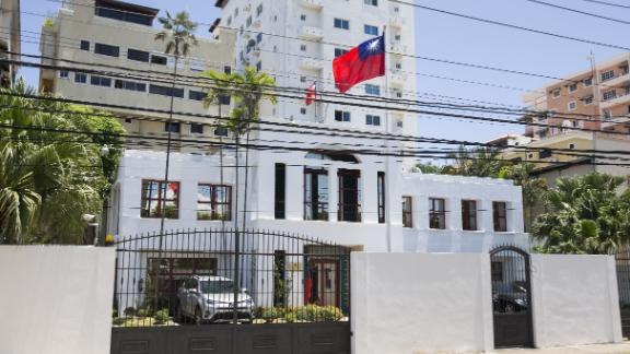 View of the facade of Taiwan's Embassy in Santo Domingo, Dominican Republic, on May 1, 2018.
