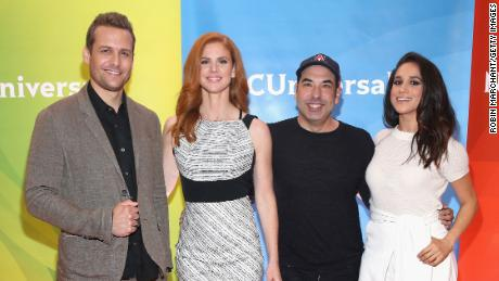 NEW YORK, NY - JUNE 24:  (L-R) Gabriel Macht, Sarah Rafferty, Rick Hoffman and Meghan Markle attend the NBC's 2015 New York Summer Press Day at Four Seasons Hotel New York on June 24, 2015 in New York City.  (Photo by Robin Marchant/Getty Images)