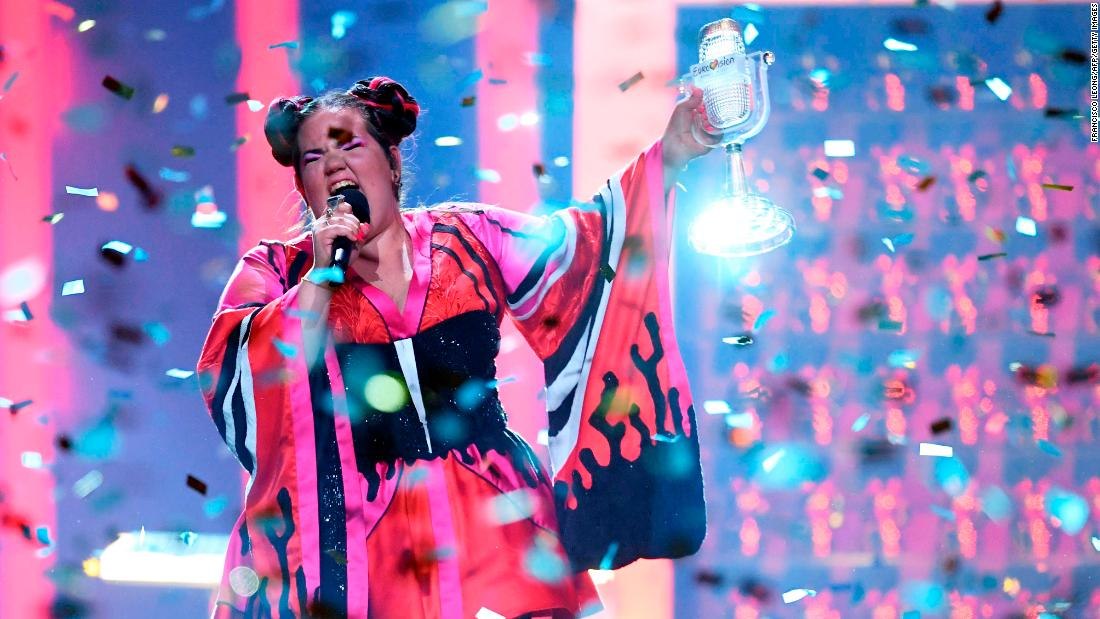 "Israeli singer Netta Barzilai performs with her trophy after <a href=""https://www.cnn.com/2018/05/12/entertainment/eurovision-winner-israel-netta-barzilai/index.html"" target=""_blank"">winning the Eurovision Song Contest</a> on Saturday, May 12. It is the fourth time Israel has won the contest, which is now in its 63rd year."