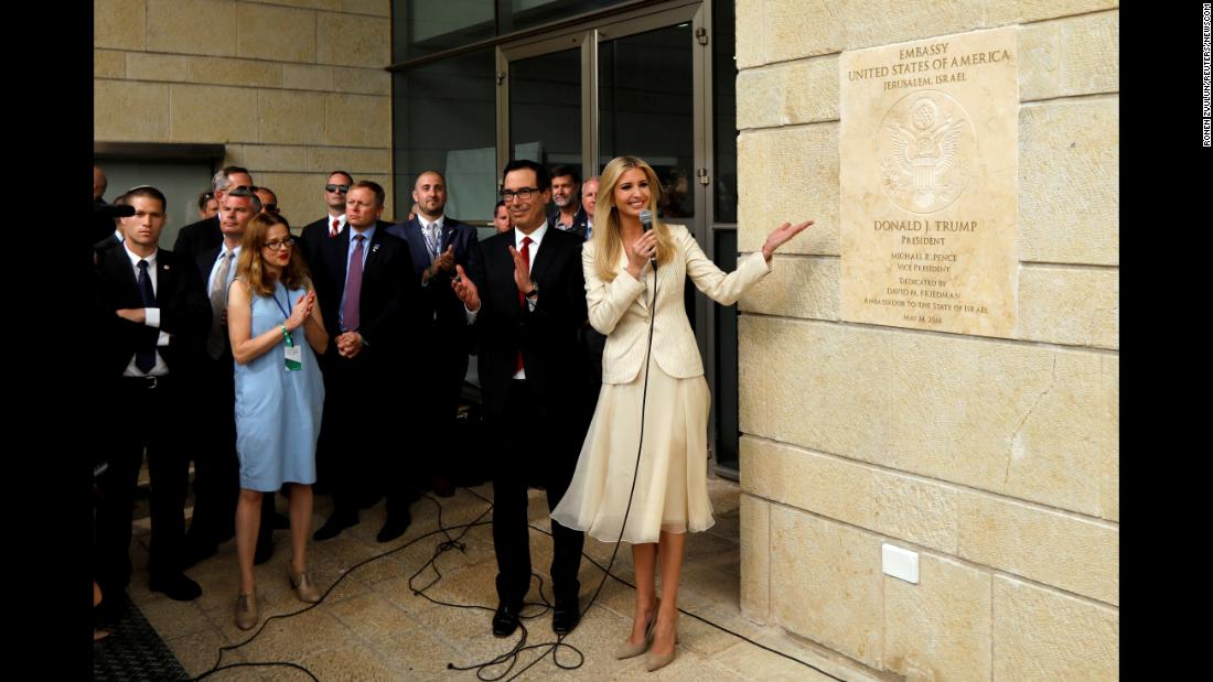"Ivanka Trump, senior White House adviser and daughter of US President Donald Trump, stands next to the dedication plaque at the new US Embassy in Jerusalem on Monday, May 14. The Embassy's <a href=""https://www.cnn.com/2018/05/14/politics/jerusalem-us-embassy-trump-intl/index.html"" target=""_blank"">controversial move from Tel Aviv</a> -- and President Trump's decision to recognize Jerusalem as the capital of Israel -- has been praised by many Israelis. But it has also angered Palestinians, who hope to claim part of the city as their future capital."