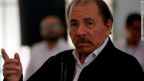 "Nicaraguan President Daniel Ortega speaks during the so-called ""national dialogue"" talks with Nicaragua's Roman Catholic bishops and the opposition in a bid to quell a month of anti-government unrest that has seen more than 50 people killed, at the Seminary of Our Lady of Fatima, in Managua on May 16, 2018. - The Church-mediated dialogue involved representatives from university students who are leading the protests against Ortega as well as from business groups and unions. (Photo by INTI OCON / AFP)        (Photo credit should read INTI OCON/AFP/Getty Images)"
