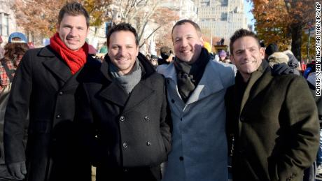 Photo by: Dennis Van Tine/STAR MAX/IPx 2017 11/23/17 Nick Lachey, Drew Lachey, Justin Jeffre and Jeff Timmons of 98 Degrees at The 91st Annual Macy's Thanksgiving Day Parade in New York City.