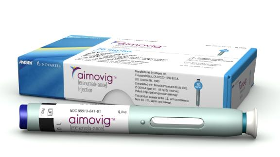 Aimovig packaging and Aimovig SureClick autoinjector