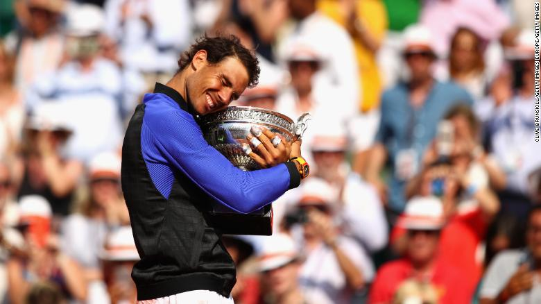 Rafa Nadal celebrates defeating Stan Wawrinka in last year's French Open final to extend his record to 10 wins at Roland Garros in Paris.