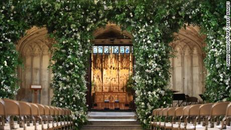 A view of the organ loft inside St George's Chapel, flooded with white flowers and greenery for the service.