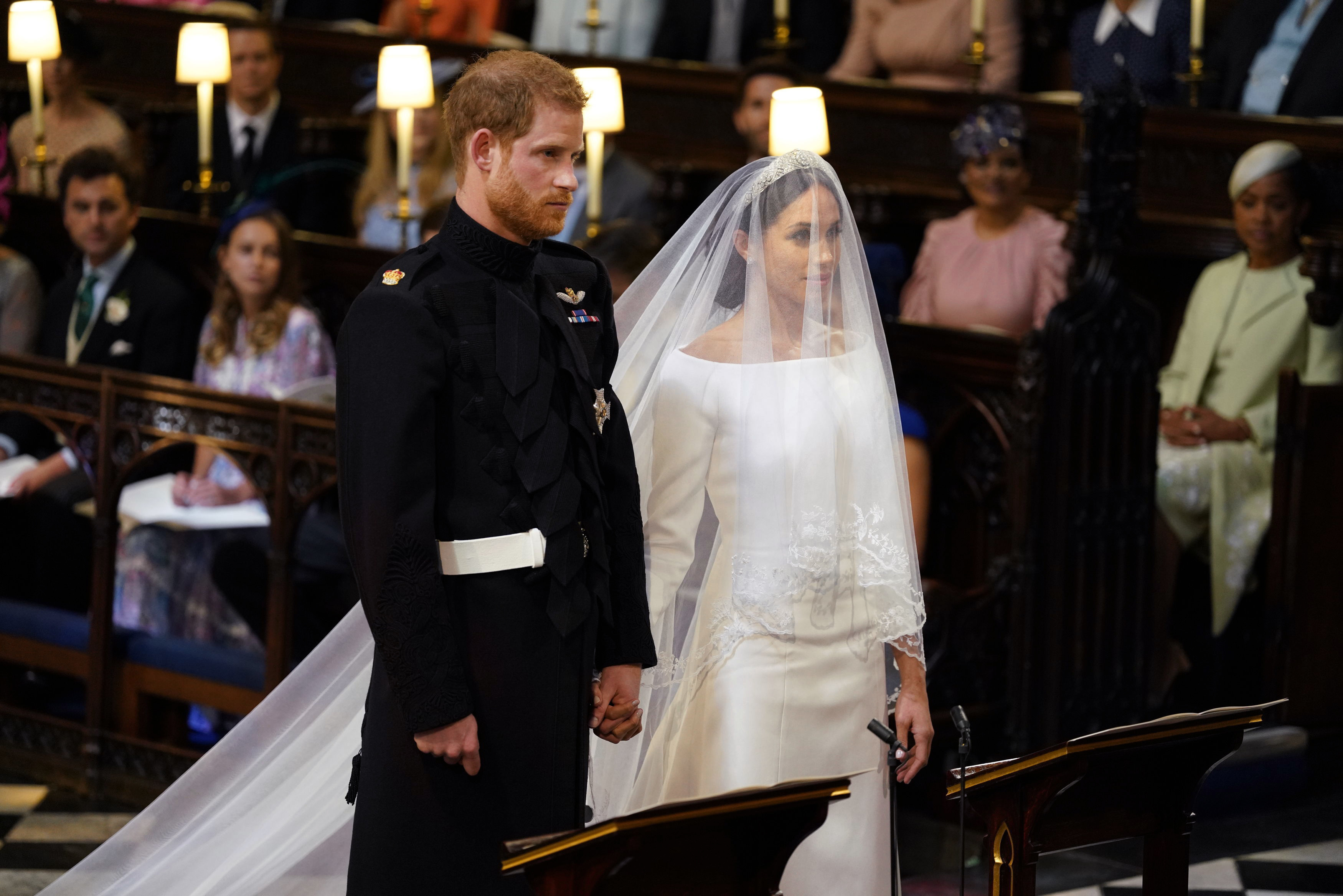 Meghan wears Stella McCartney dress to evening royal wedding ...